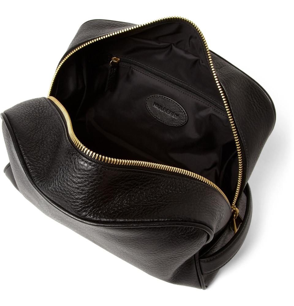 Mulberry Full Grain Leather Wash Bag In Black For Men Lyst