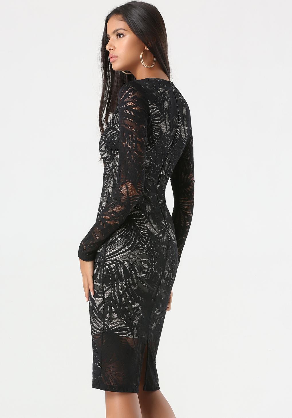 Lace plunge black dress