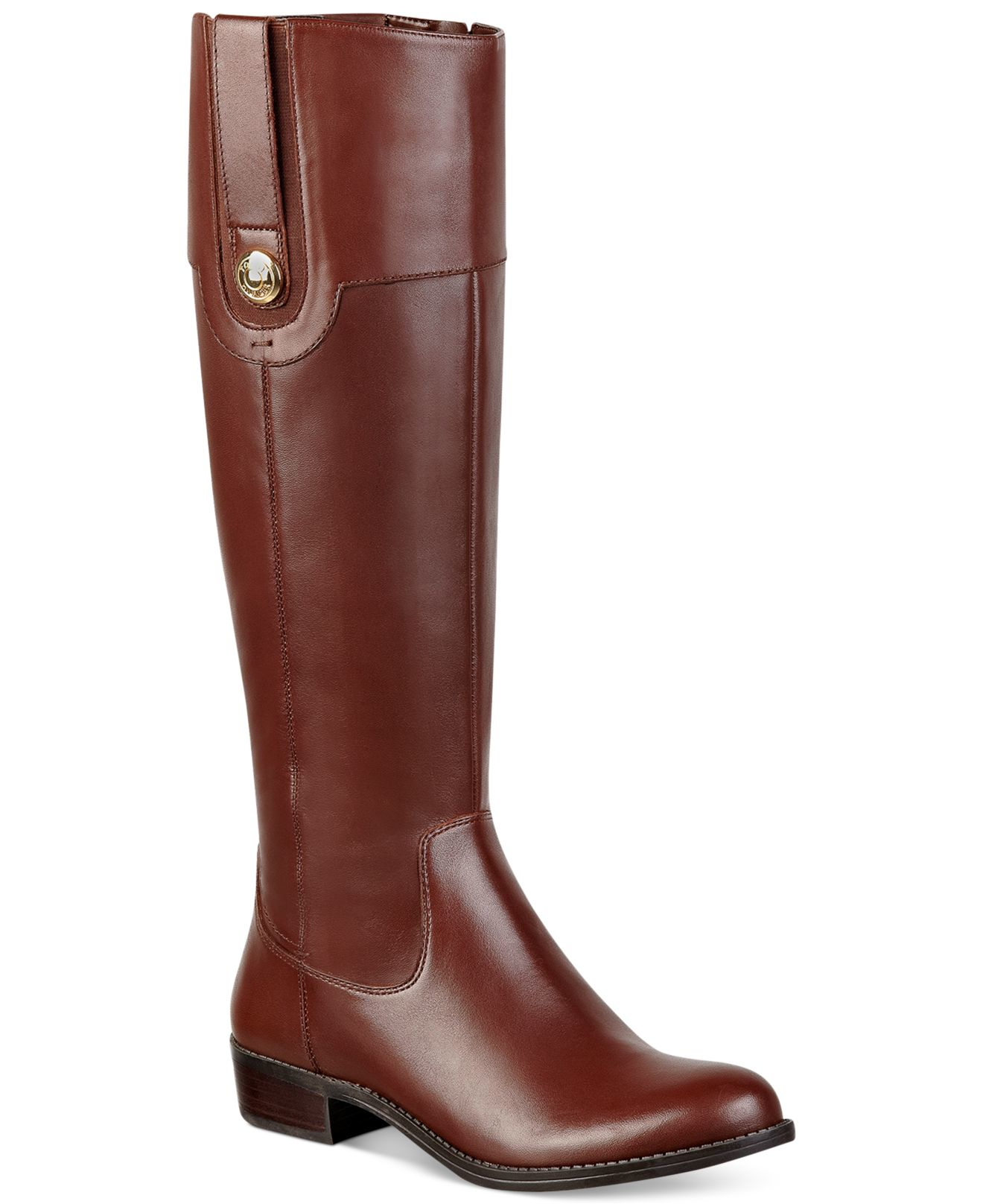tommy hilfiger dalyn wide calf riding boots in brown lyst. Black Bedroom Furniture Sets. Home Design Ideas