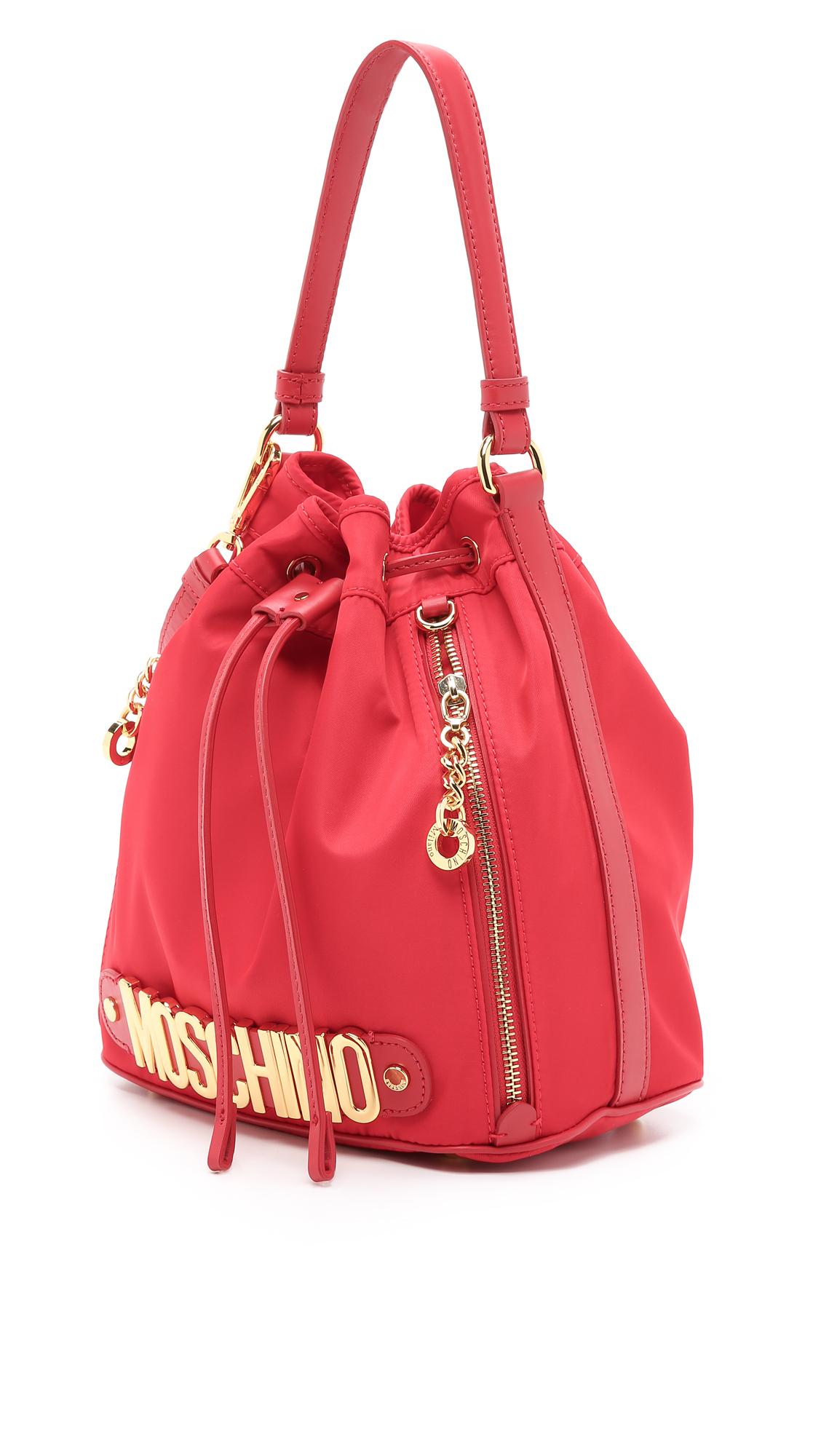 9dffd0e2b3e94 Moschino Nylon Bucket Bag - Red in Red - Lyst