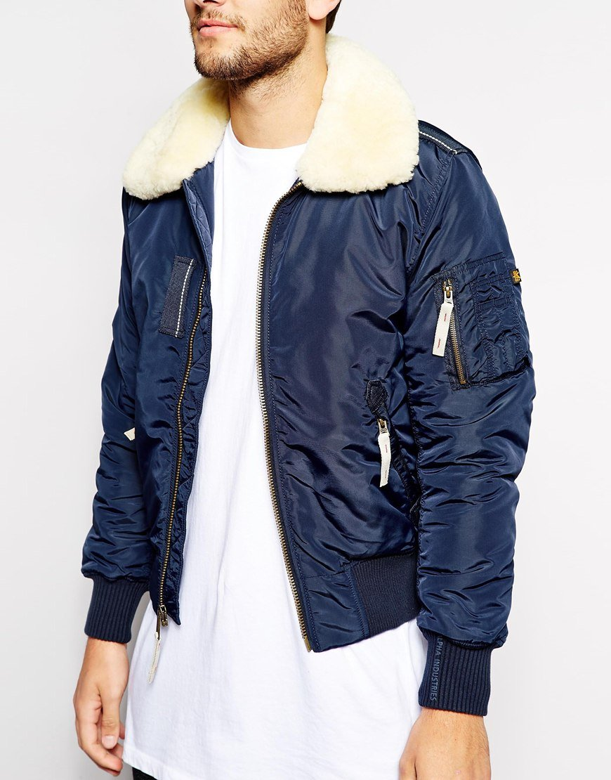 lyst alpha industries bomber jacket with sheep collar in. Black Bedroom Furniture Sets. Home Design Ideas