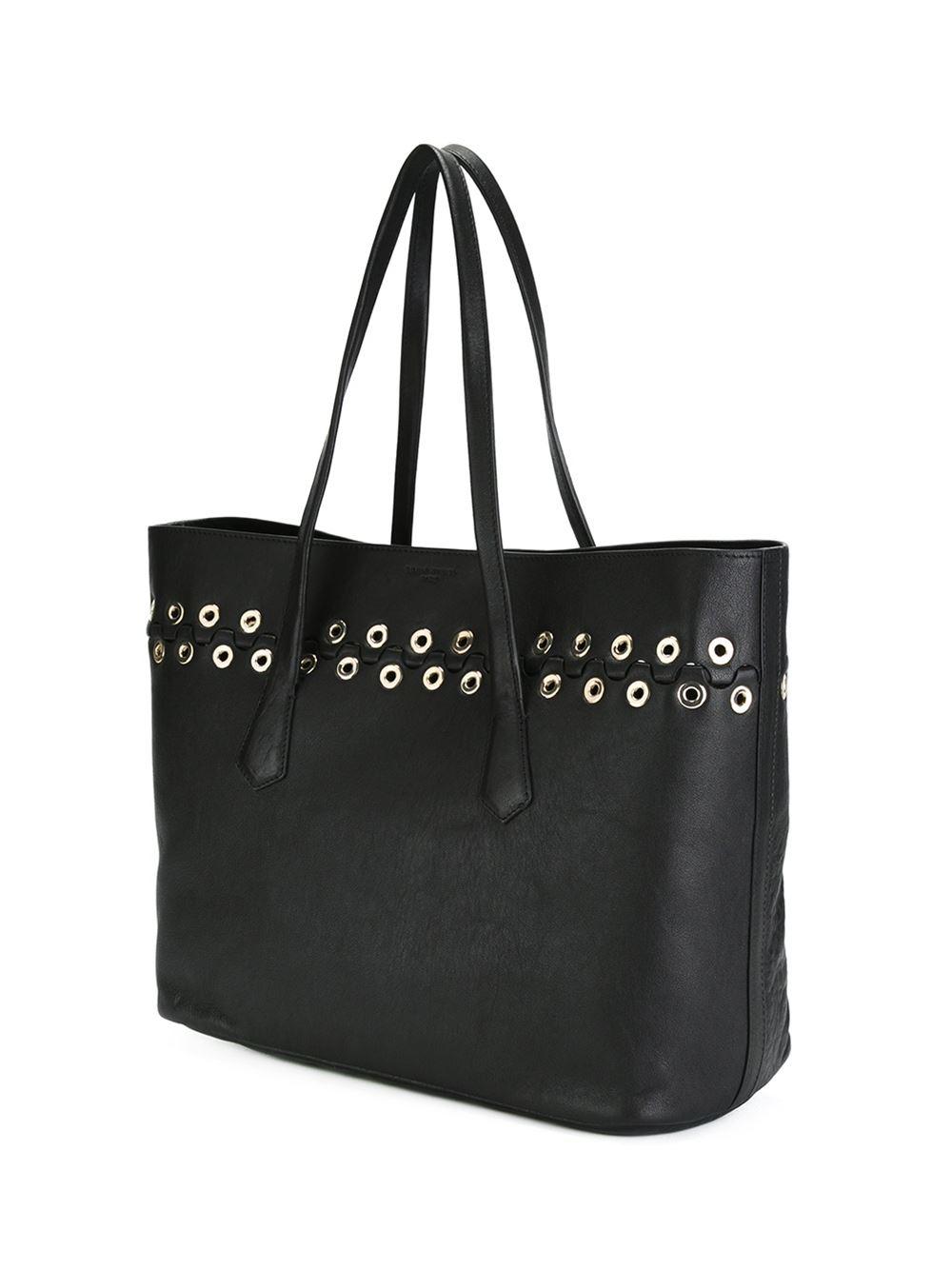 Sonia Rykiel Eyelet Embellished Shopping Tote in Black