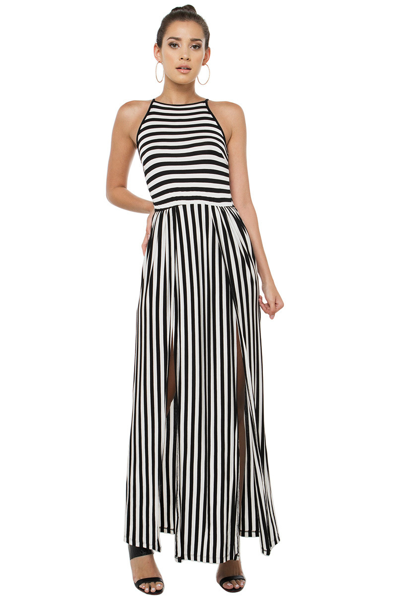 Akira Cut Loose Black White Hi Leg Slit Maxi Dress Lyst