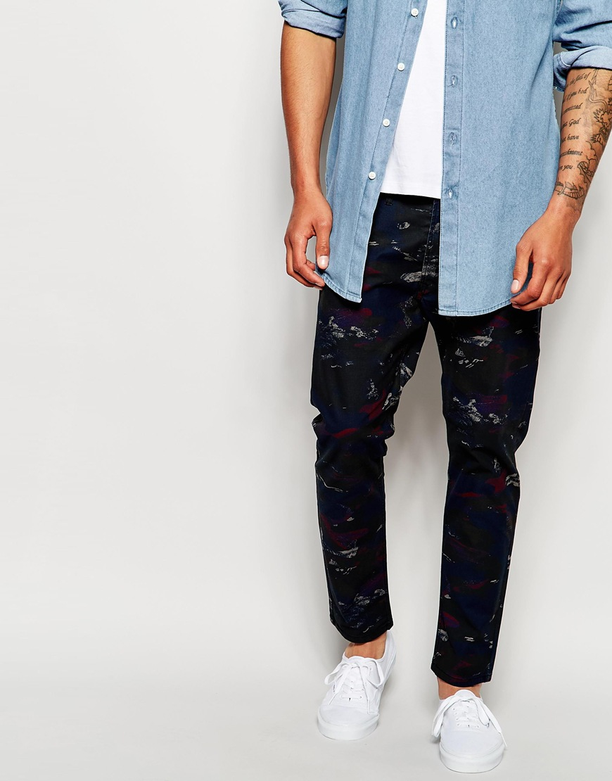Diesel Jeans Tepphar-a-ul Skinny Fit All Over Camo Print in Blue ...