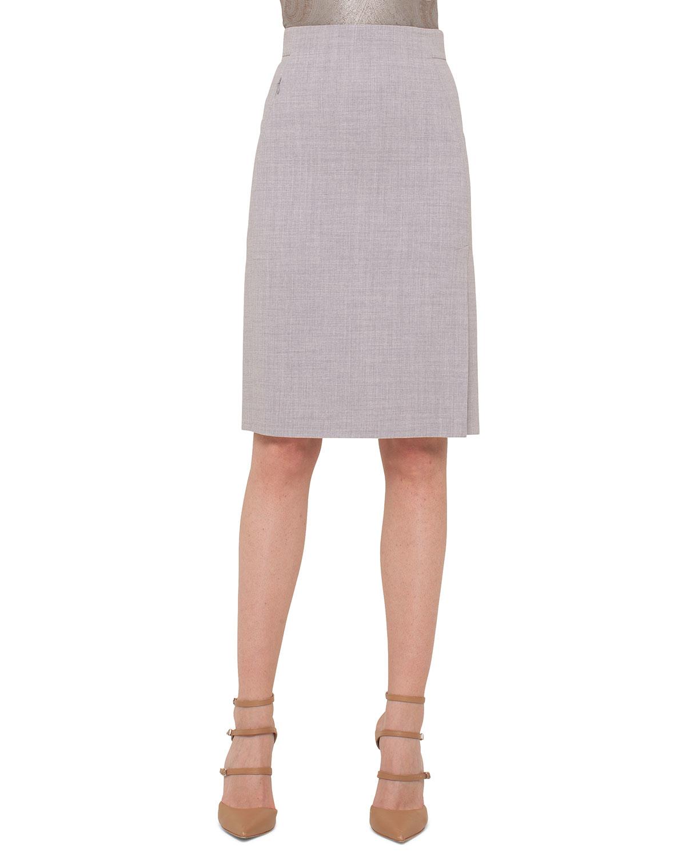 akris high waisted melange pencil skirt in gray lyst