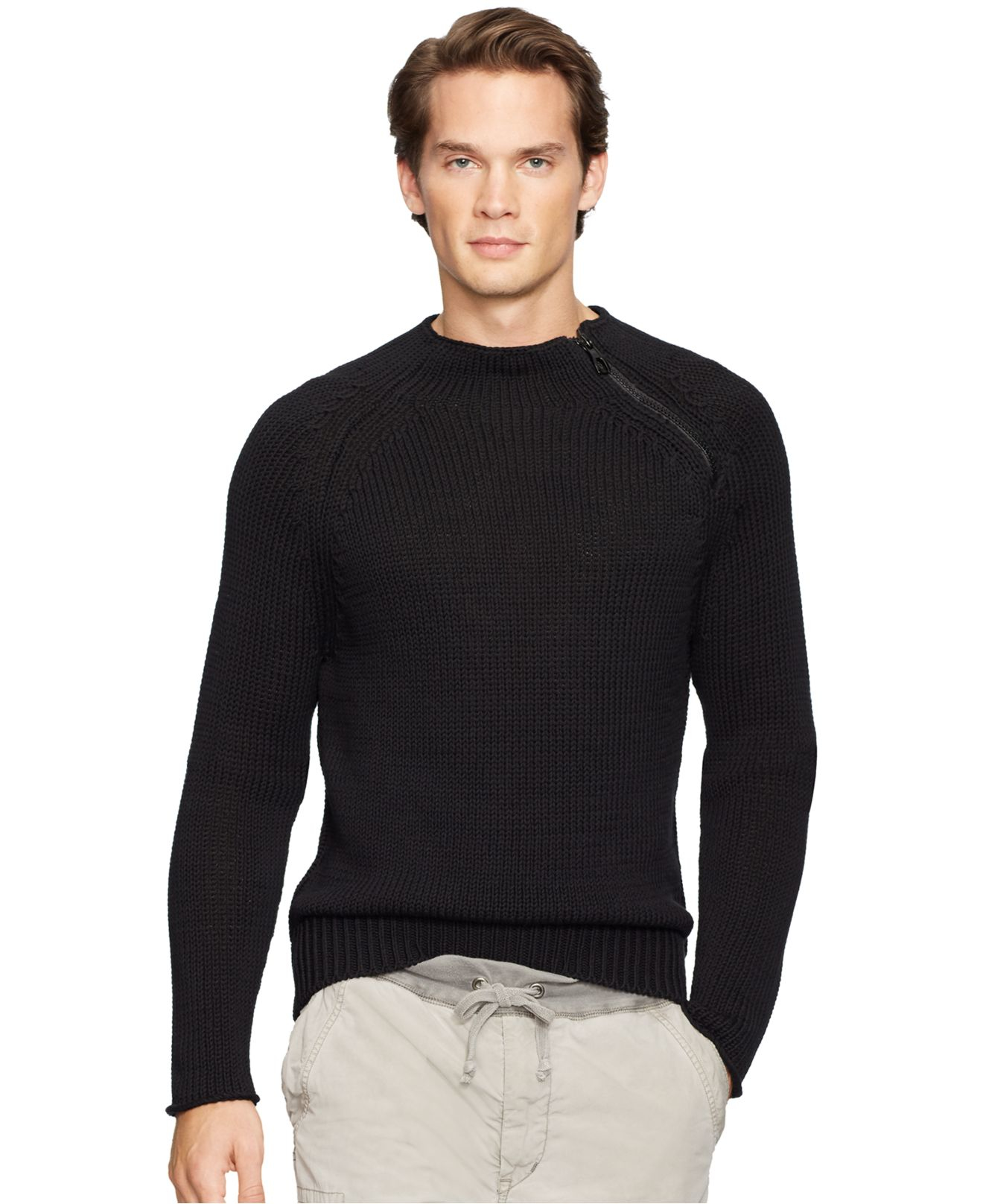 lyst polo ralph lauren crewneck zip sweater in black for men. Black Bedroom Furniture Sets. Home Design Ideas