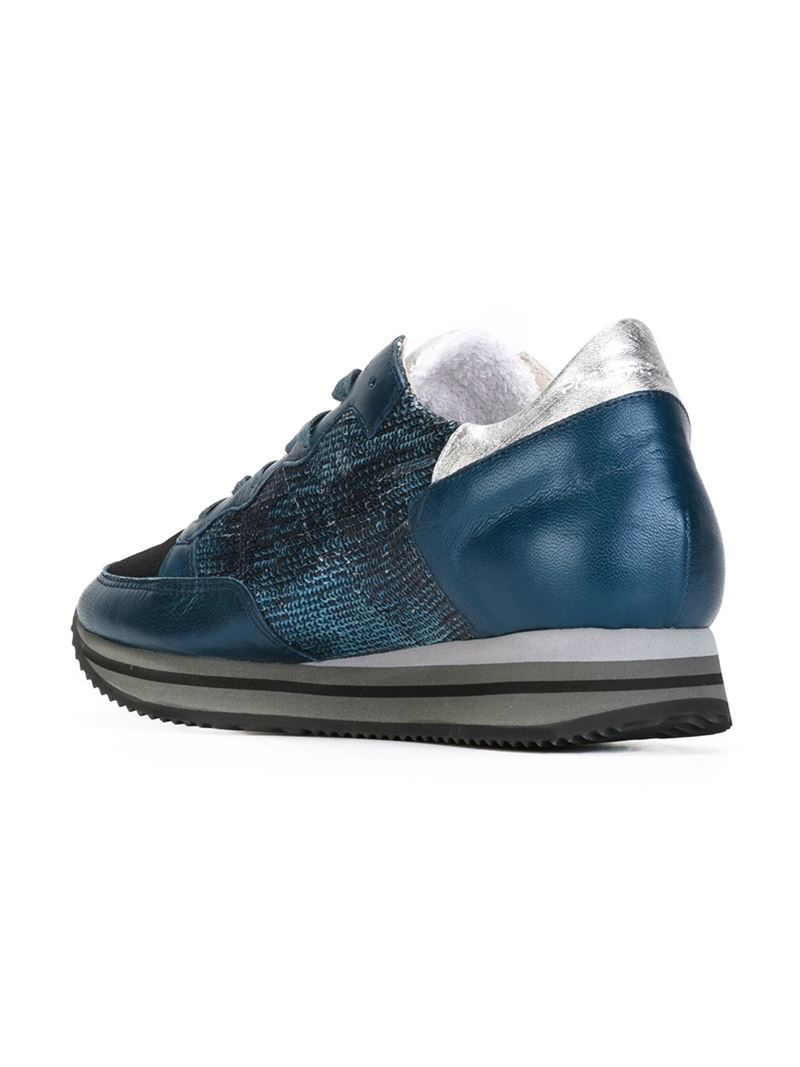 Philippe Model Leather Sequin Embellished Sneakers in Blue