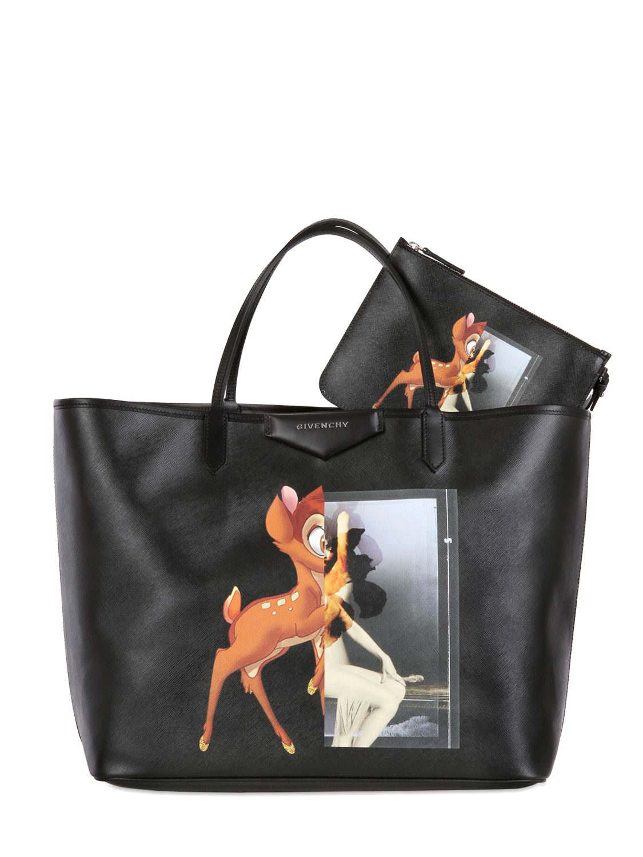 Givenchy Large Antigona Bambi Coated Canvas Tote in Black