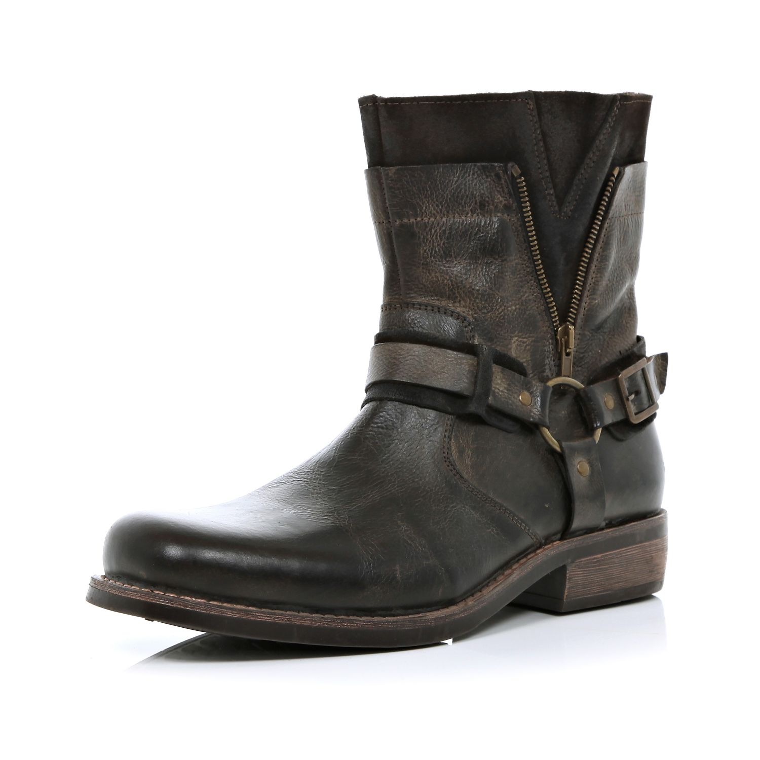 river island dark brown distressed biker boots in brown for men lyst. Black Bedroom Furniture Sets. Home Design Ideas
