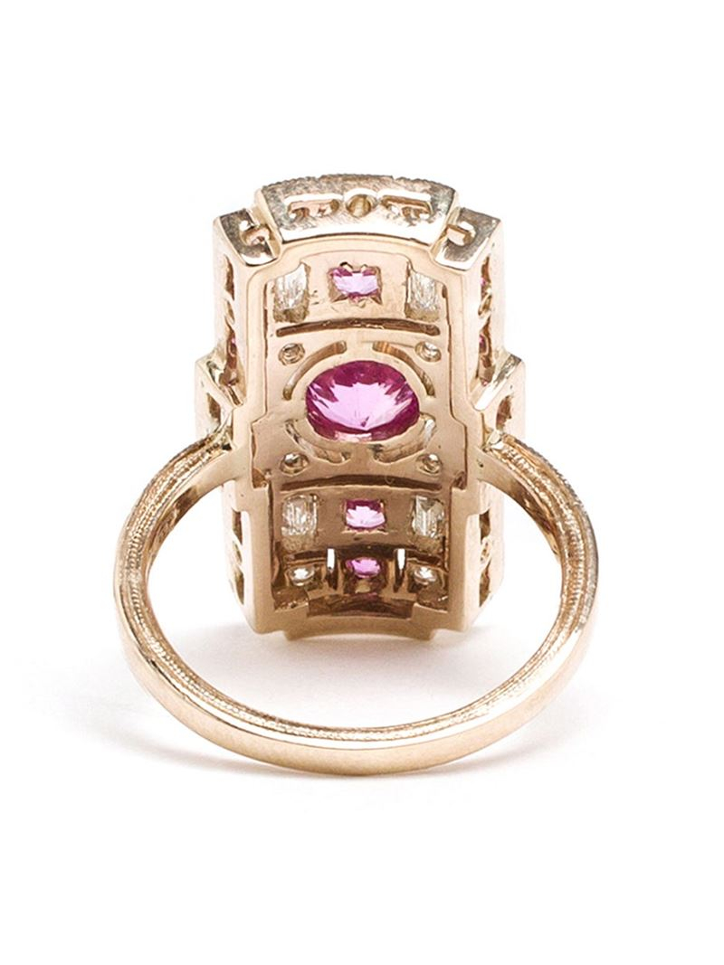 Sabine G 18kt White Gold And Diamond Rectangle Ring in Pink & Purple (Metallic)