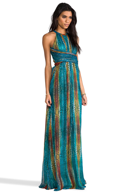 Issa Chiffon Metallic Maxi Dress In Turquoise In Blue Lyst