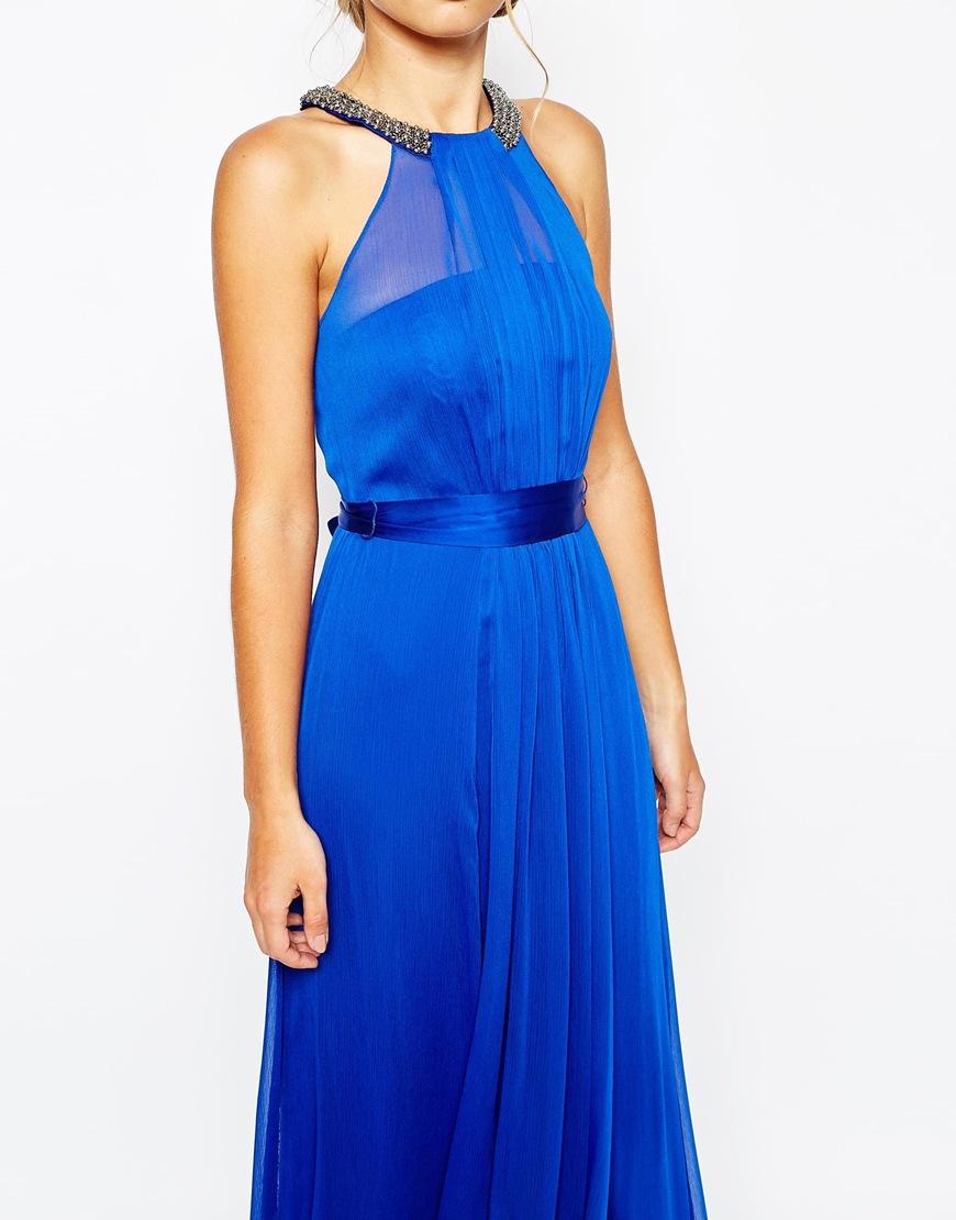 Coast Fernanda Crinkle Maxi Dress in Blue | Lyst