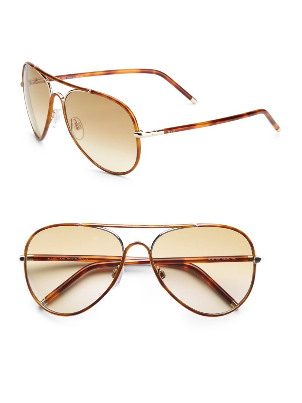 f6f4bd94aa Lyst - Tod s Metal Acetate Aviator Sunglasses in Brown for Men
