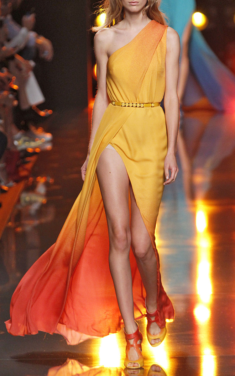 afa52ecc26 Elie Saab Orange Degrade Double Silk Georgette Dress in Orange - Lyst