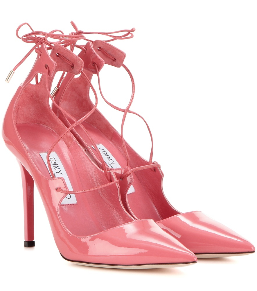 07e3dc4c494 Lyst - Jimmy Choo Vita 100 Patent Leather Lace-up Pumps in Pink