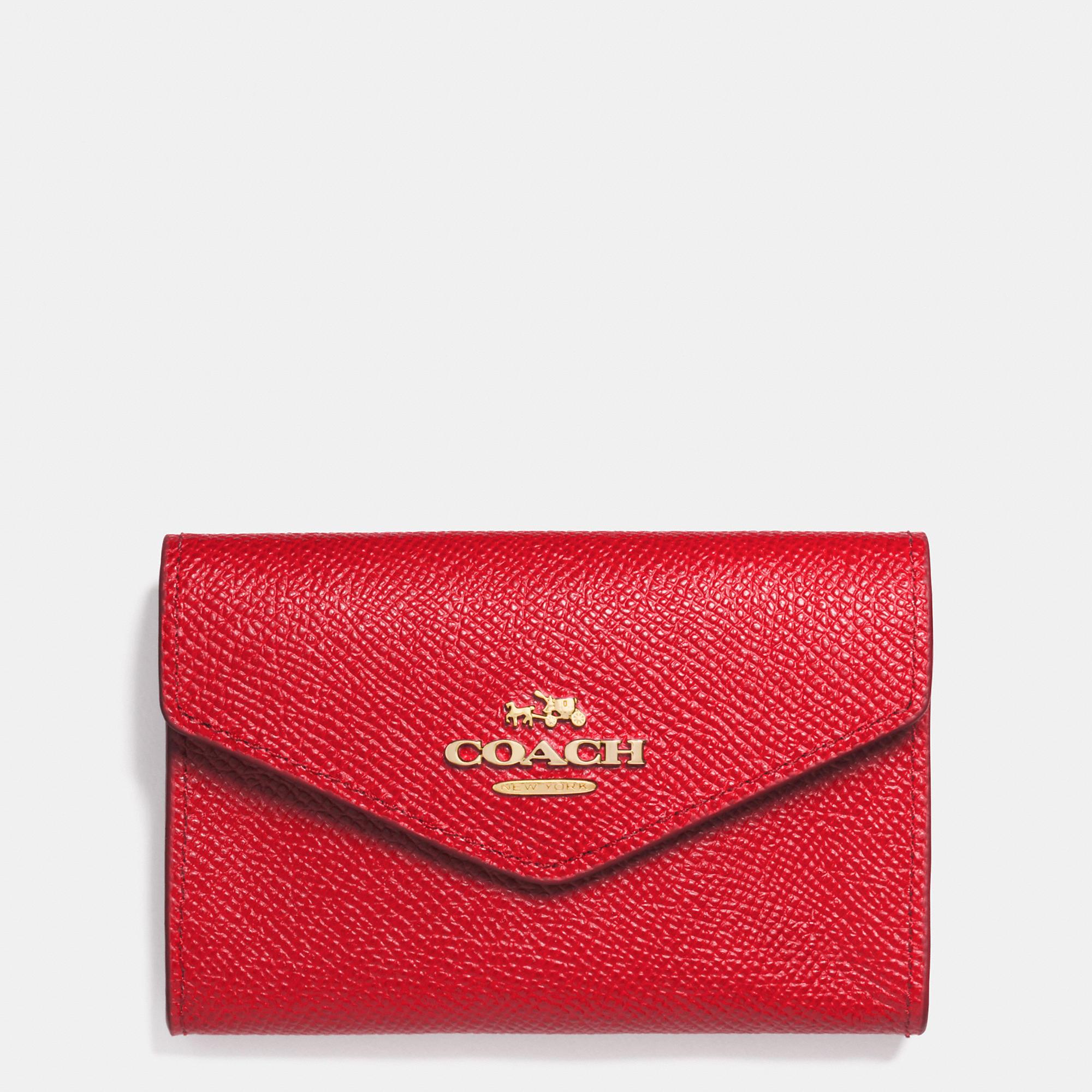 381e9b31e6fc Lyst - COACH Envelope Card Case In Crossgrain Leather in Red