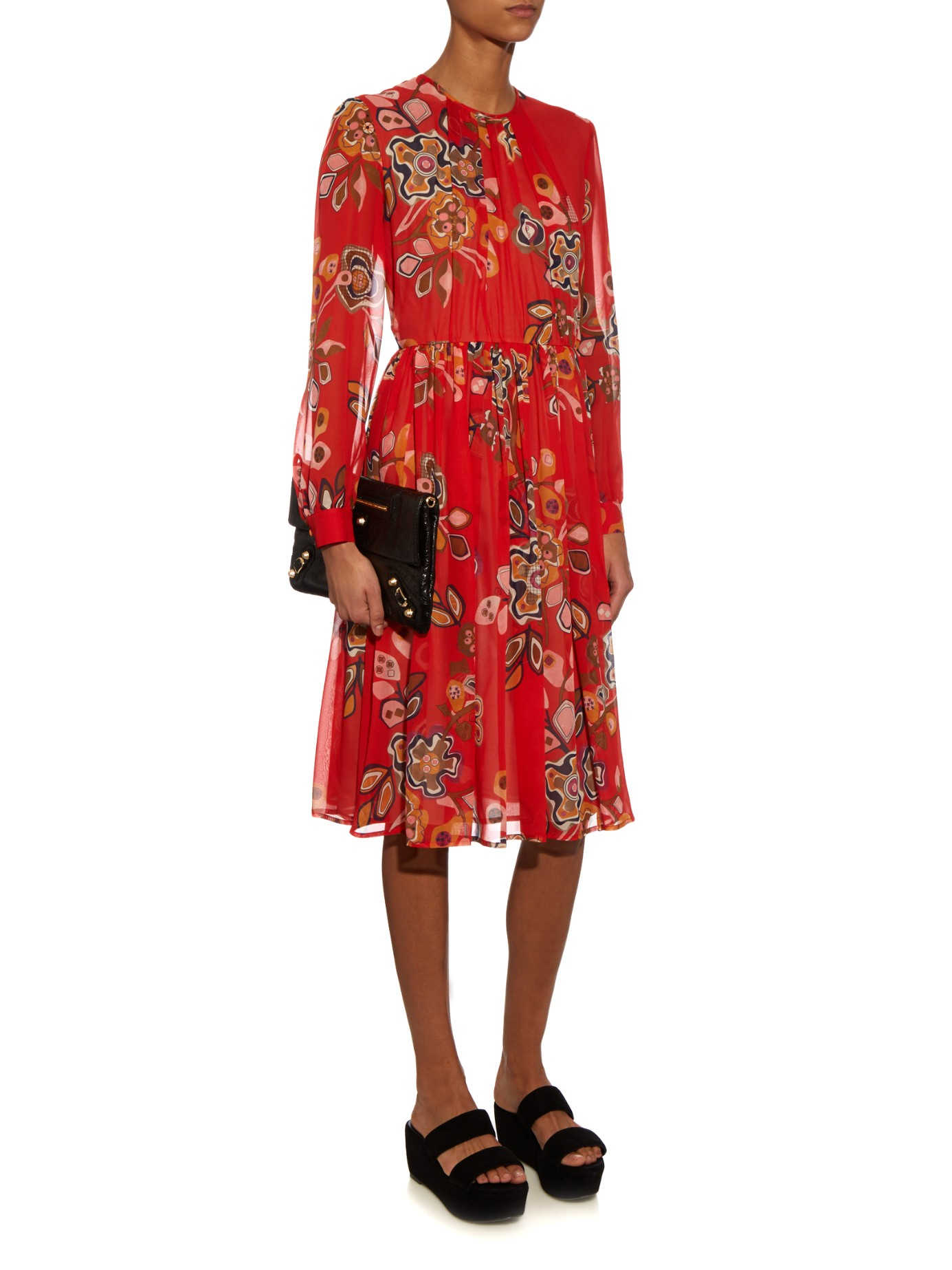 Quality Free Shipping Low Price Cheap Very Cheap Flowers printed long dress Msgm Outlet How Much Low Price Cheap Online Visit New Cheap Online RiT0X