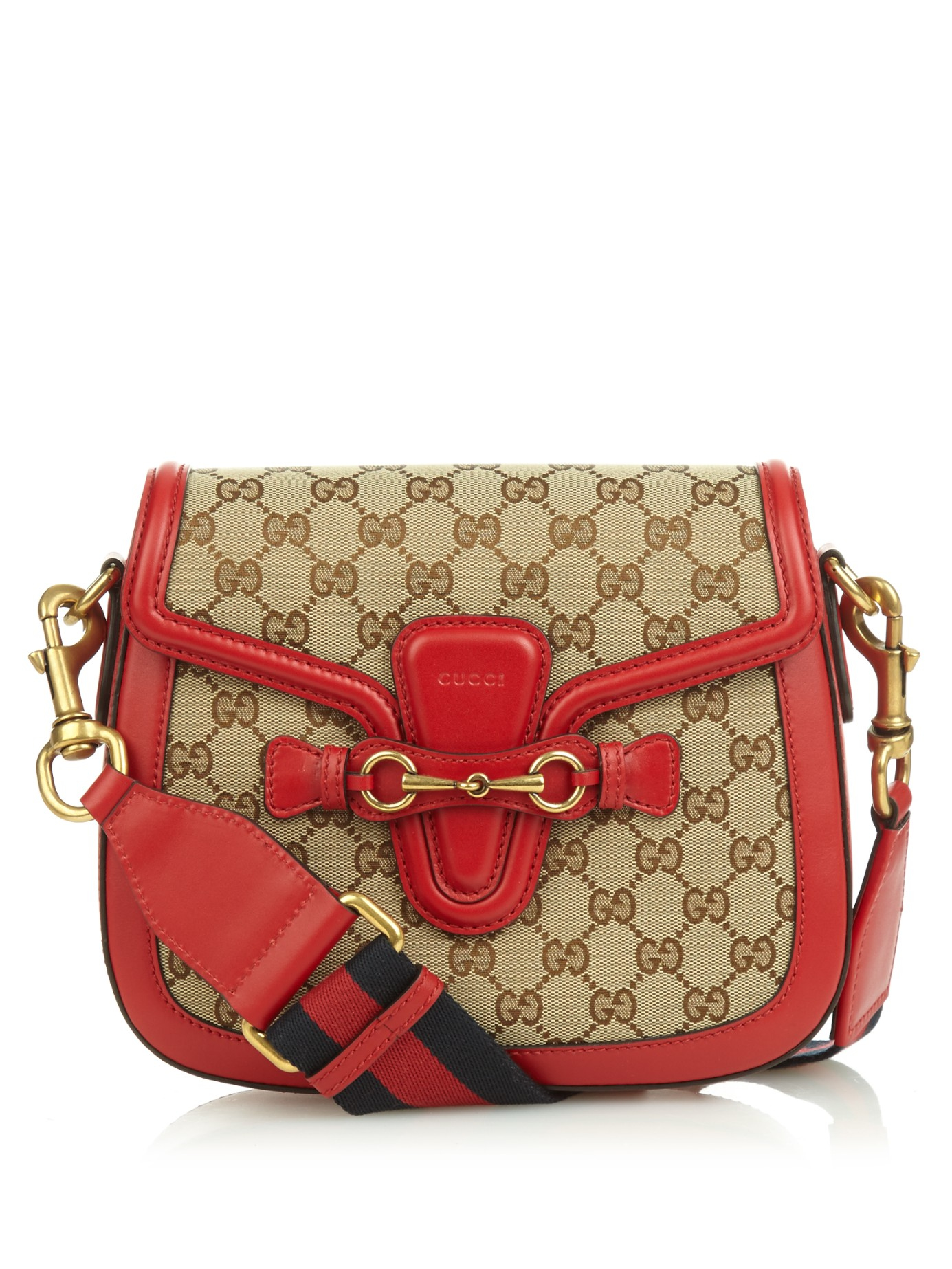 9d1dc1ab063 Lyst - Gucci Lady Web Medium Canvas And Leather Shoulder Bag in Red