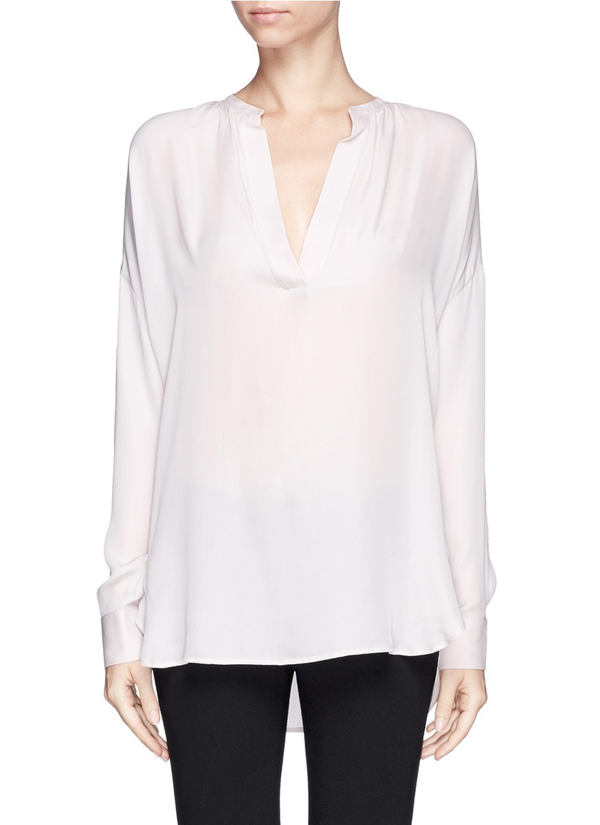 e339d1181 Vince Silk Blouse in Pink - Lyst