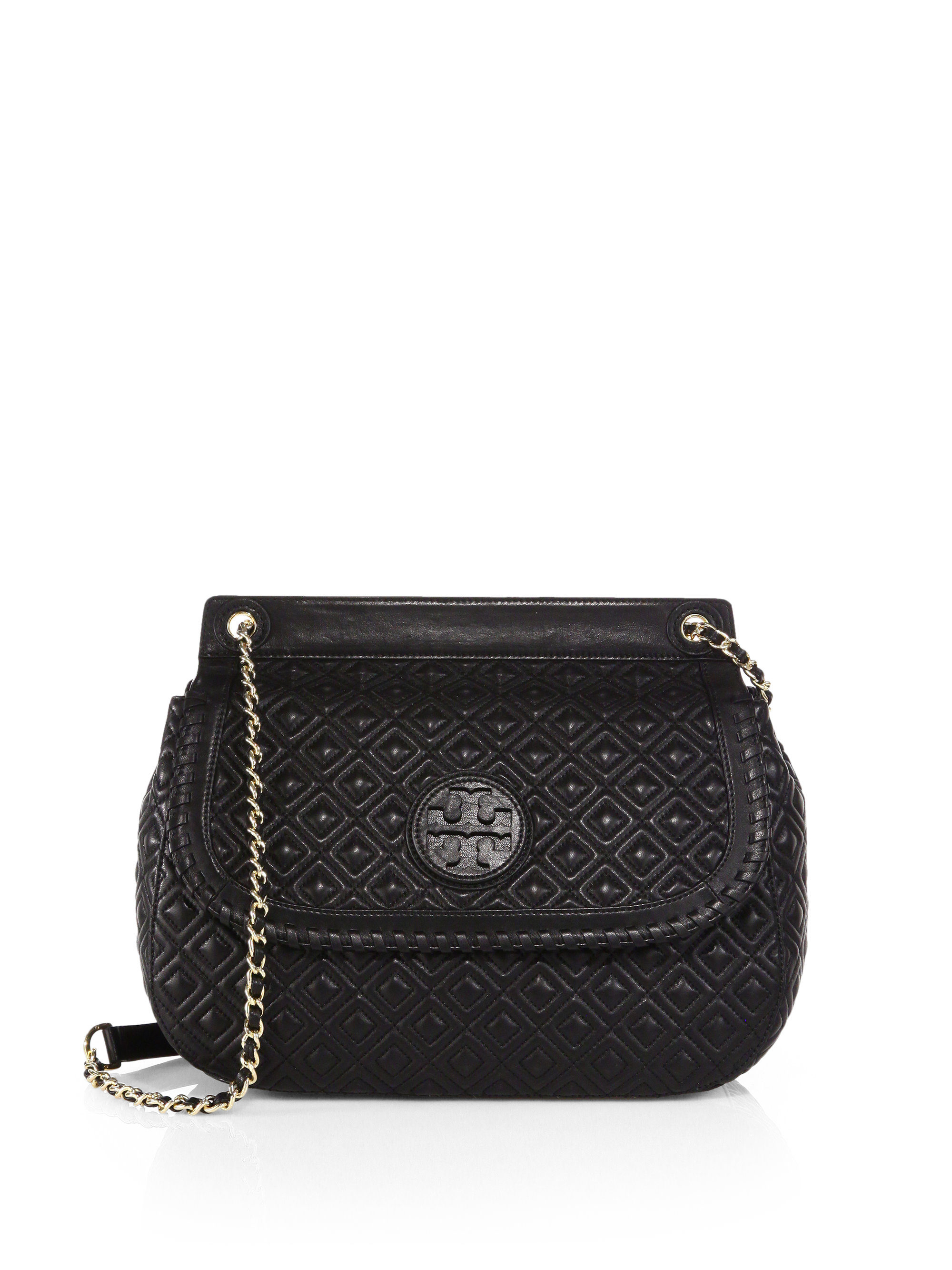 Tory burch Marion Quilted Saddle Shoulder Bag in Black