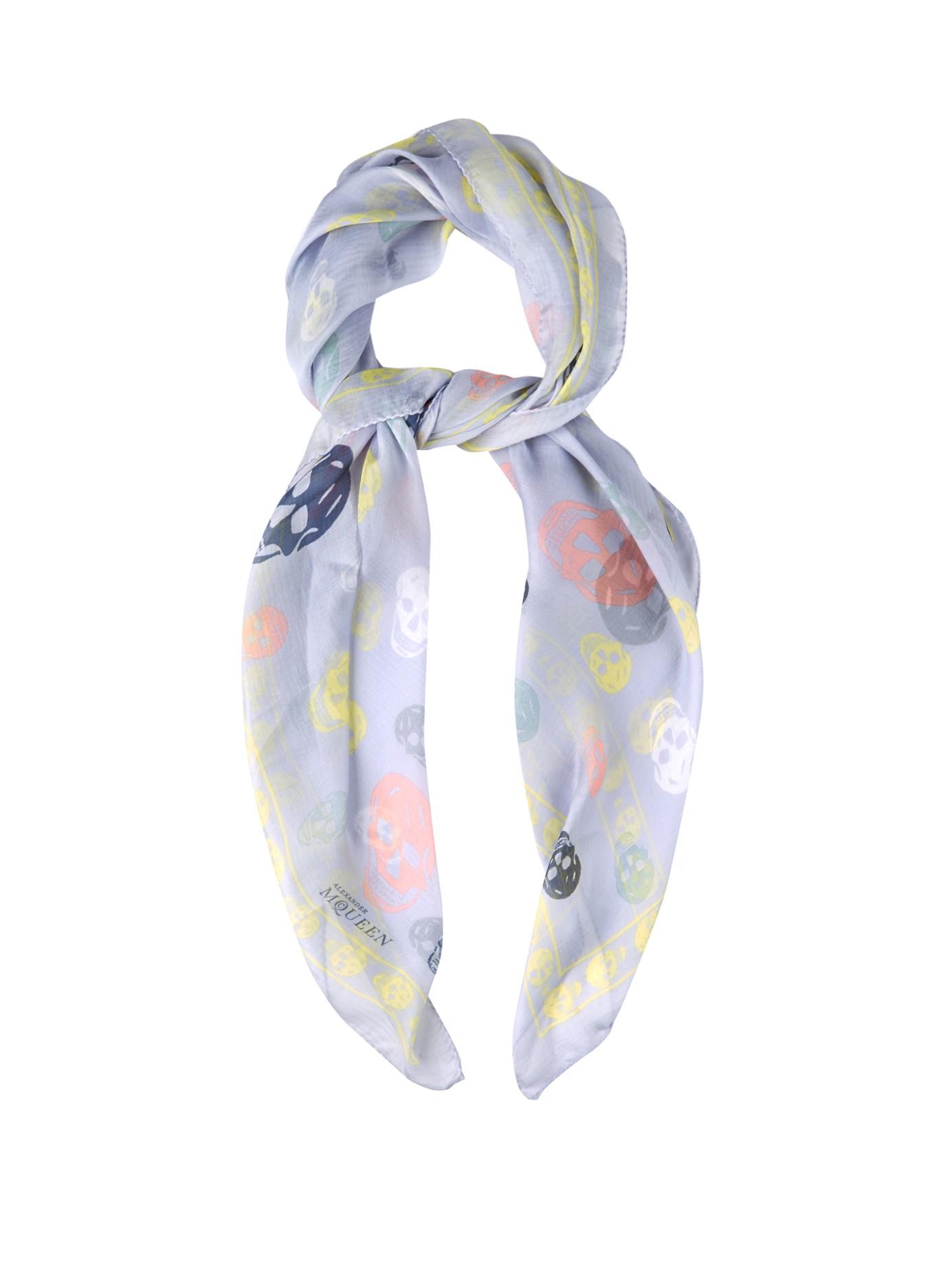 mcqueen skull print chiffon scarf in blue lyst
