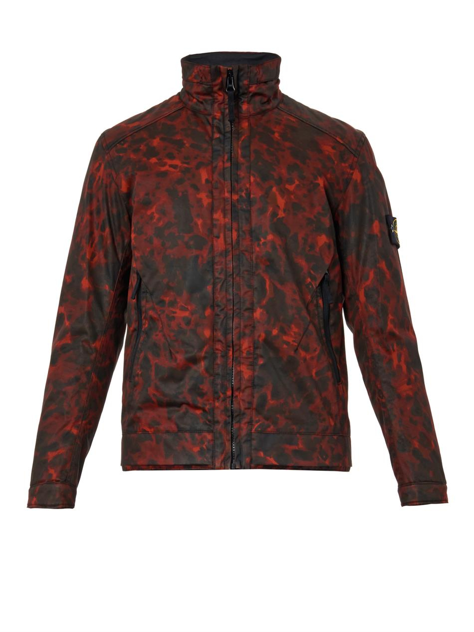 Stone Island Raso Gommato Camouflage Jacket In Red For Men