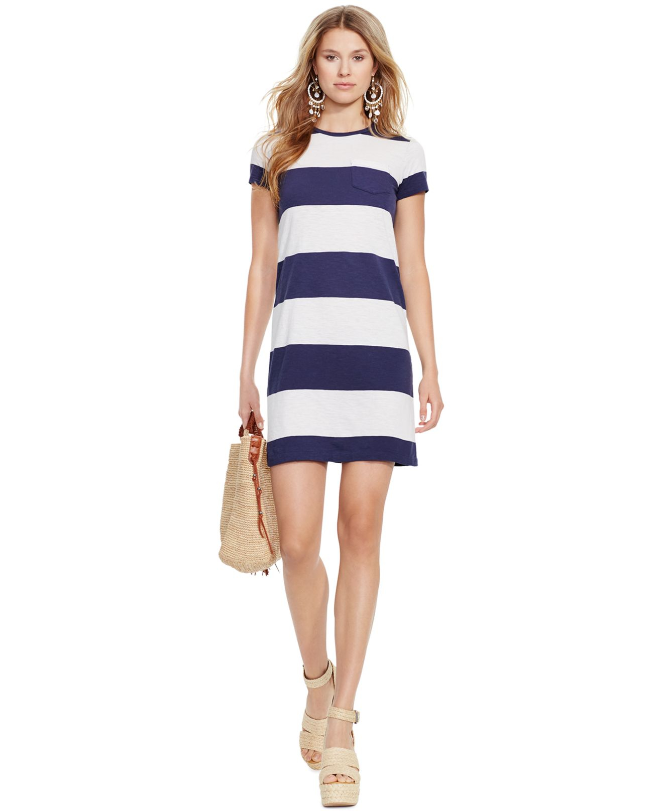 936b69589c Polo Ralph Lauren Blue Striped T-Shirt Dress