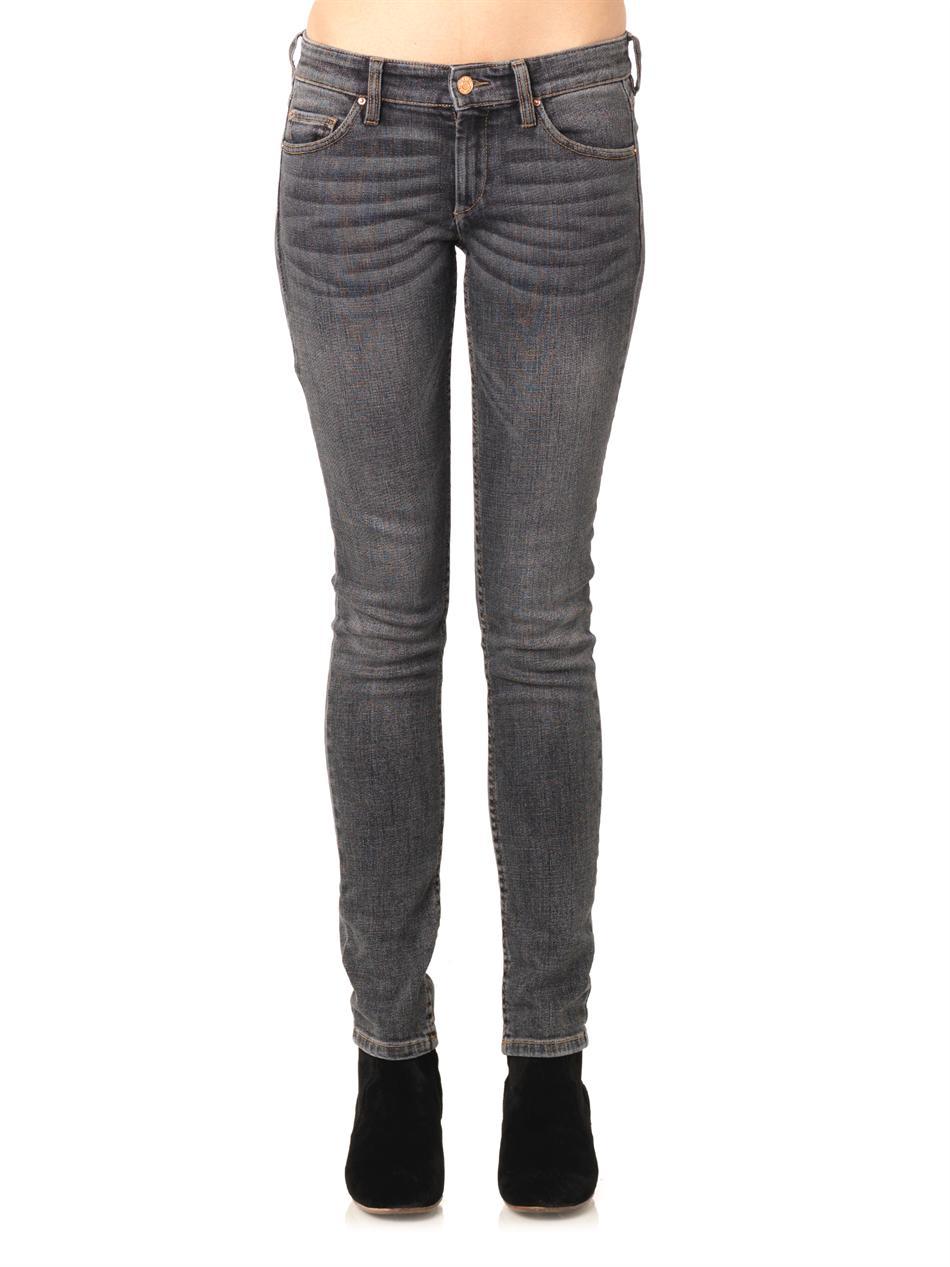 Étoile Isabel Marant Trudy Skinny Mid-Rise Stretch-Denim Jeans in Grey (Grey)