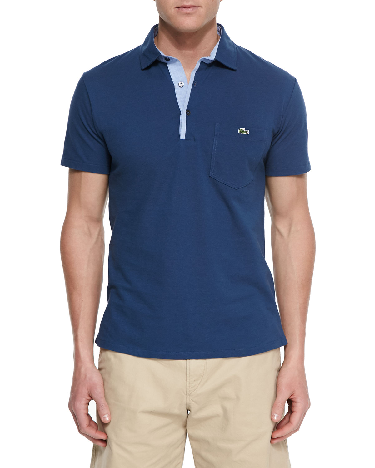 Lyst lacoste short sleeved cotton polo shirt in blue for men for Cotton polo shirts for men