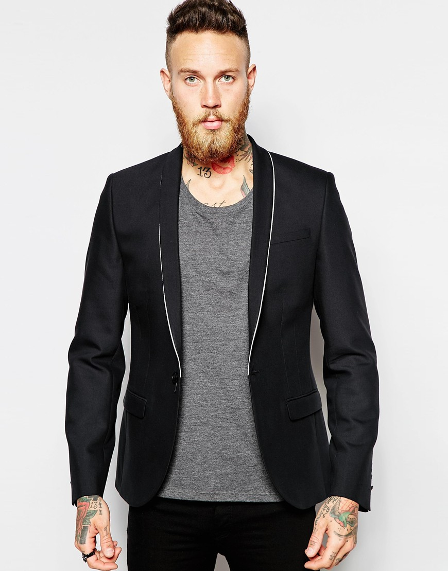 Noose and monkey Religion X Blazer With Stretch And Lapel Piping ...