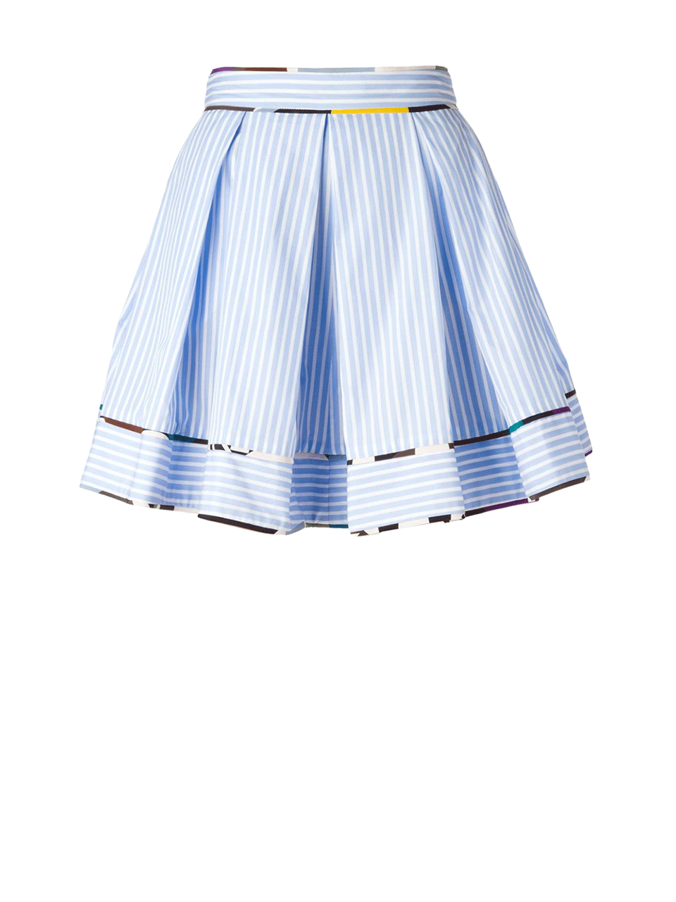 msgm striped pleated skirt in blue lyst
