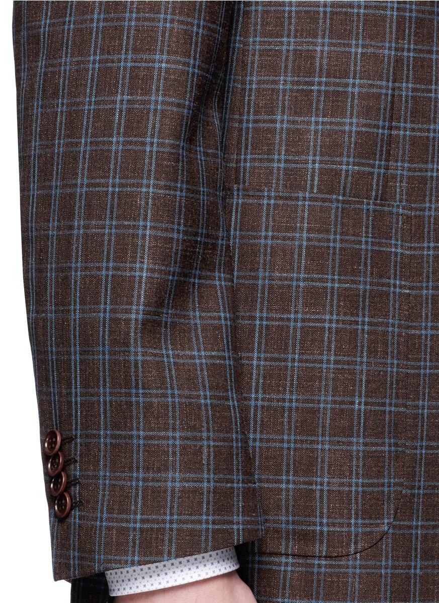 lyst canali 39 capri 39 tartan plaid hopsack blazer in brown. Black Bedroom Furniture Sets. Home Design Ideas