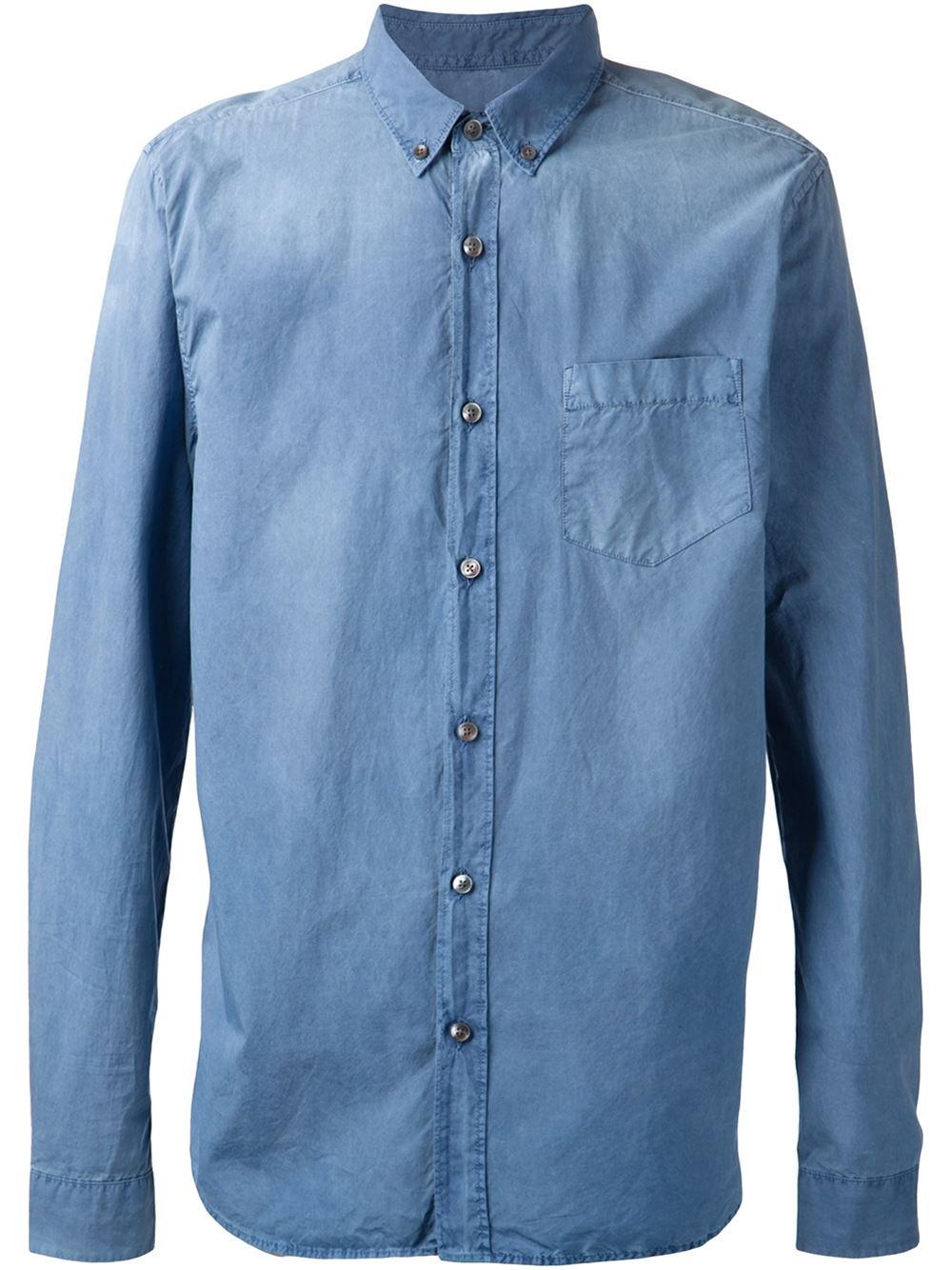 Closed distressed denim shirt in blue for men lyst for How to make a distressed shirt