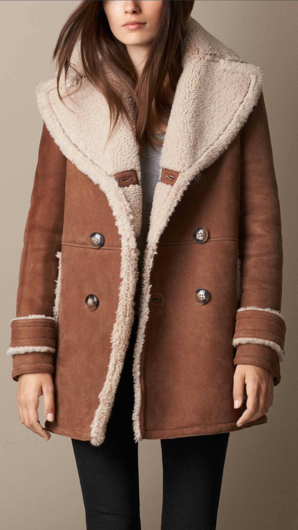 Burberry A-Line Shearling Coat in Brown | Lyst