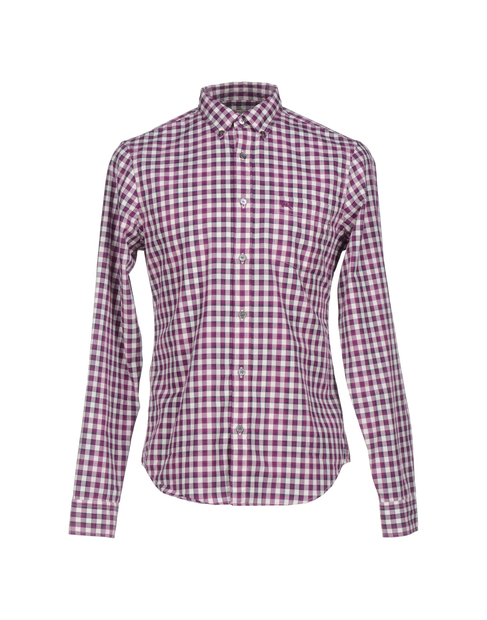 Lyst burberry brit checked button down shirt in red for men for Burberry brit checked shirt