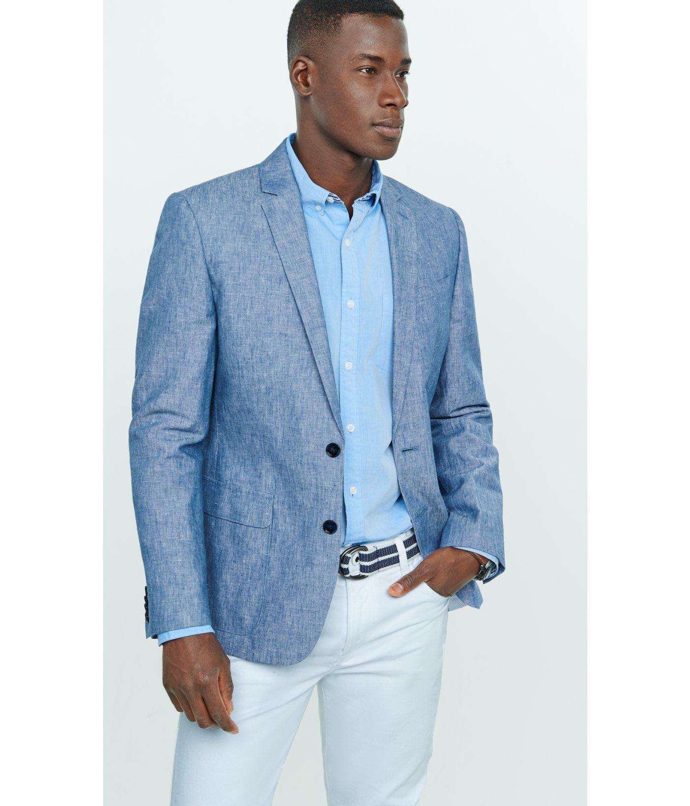 Express Slim Photographer Linen-cotton Blue Blazer in Blue for Men ...