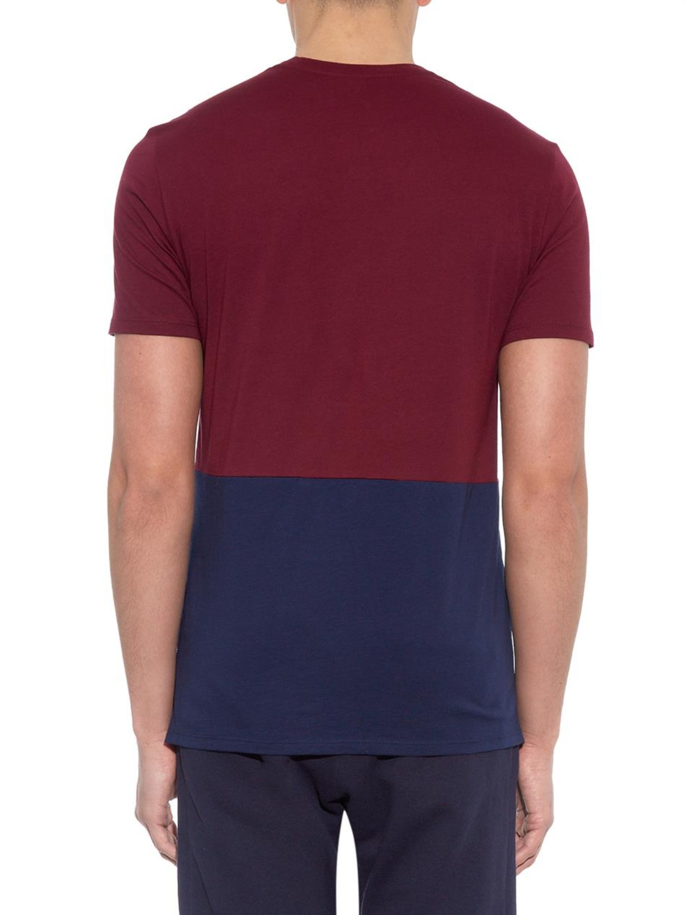 Lyst vince color blocked cotton jersey t shirt in purple for Vince tee shirts sale