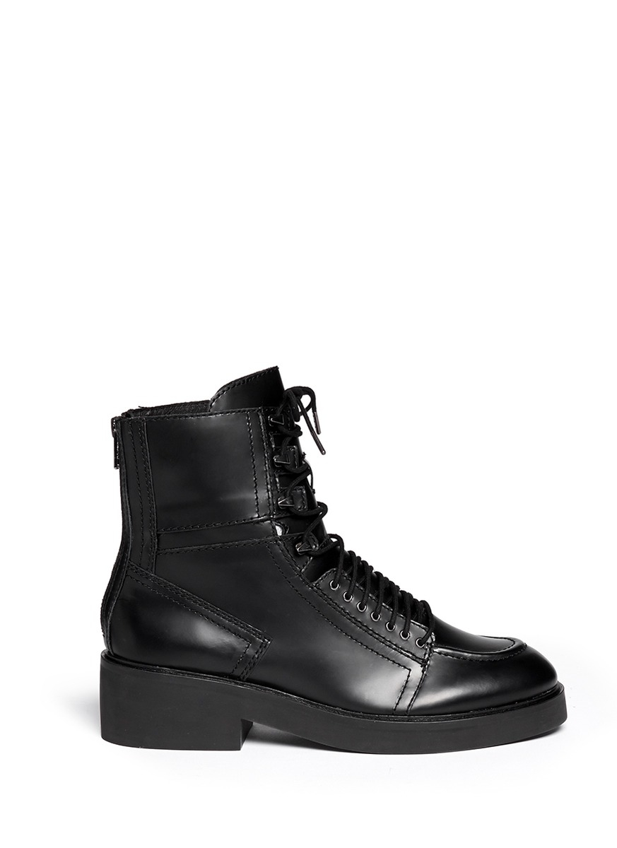 ash neal lace up leather combat boots in black lyst. Black Bedroom Furniture Sets. Home Design Ideas