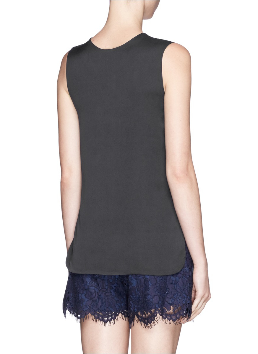 Vince Leather Front Silk Sleeveless Top In Blue Lyst