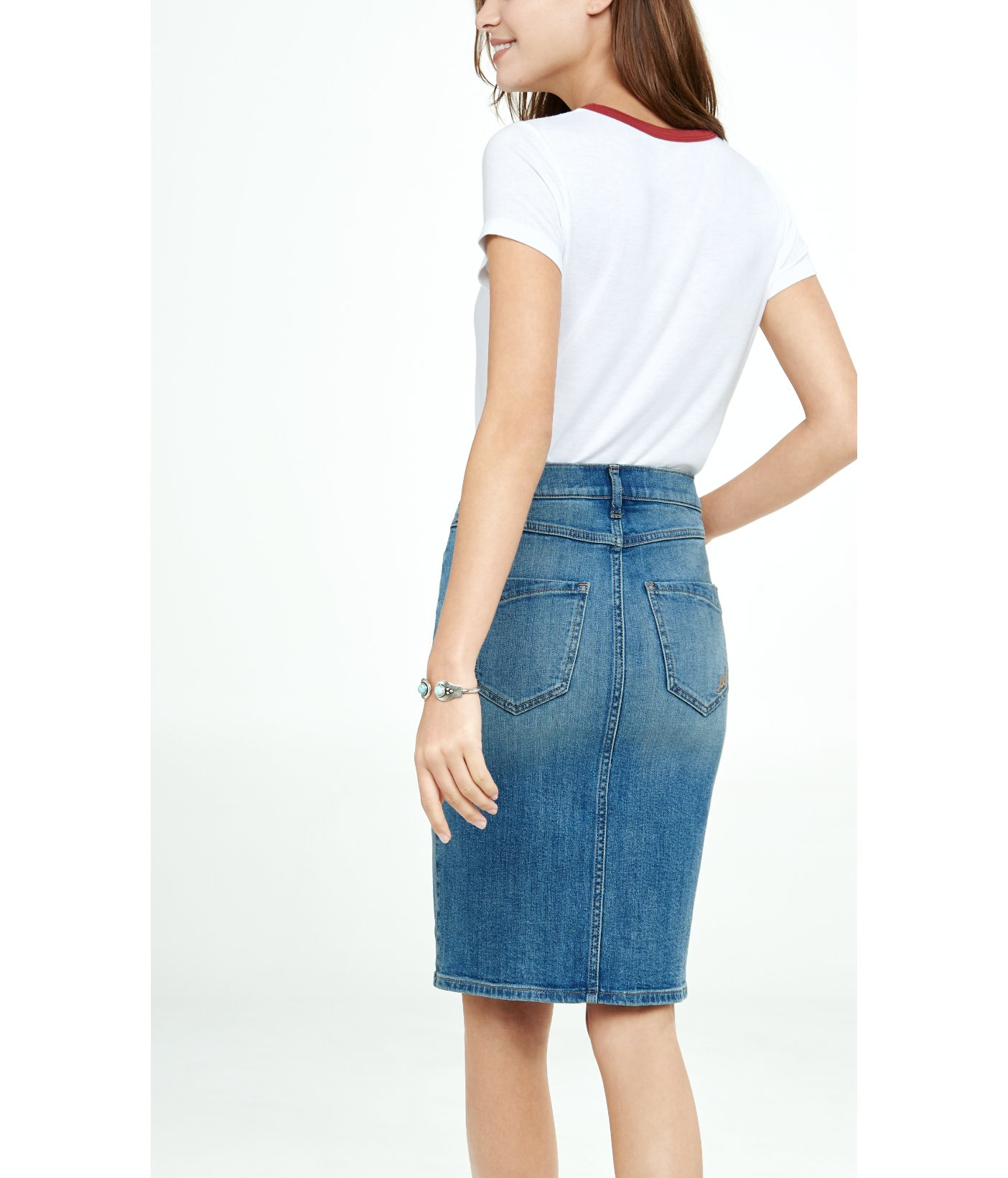 express high waisted button front denim pencil skirt in