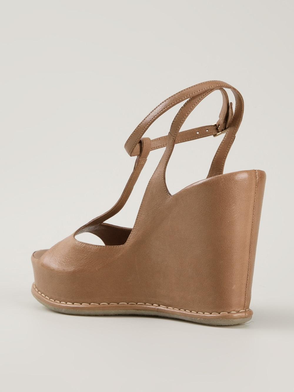 Brown Wedge Heel Sandals