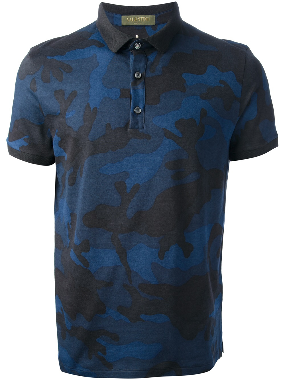 Valentino camouflage polo shirt in blue for men lyst for Camo polo shirts for men