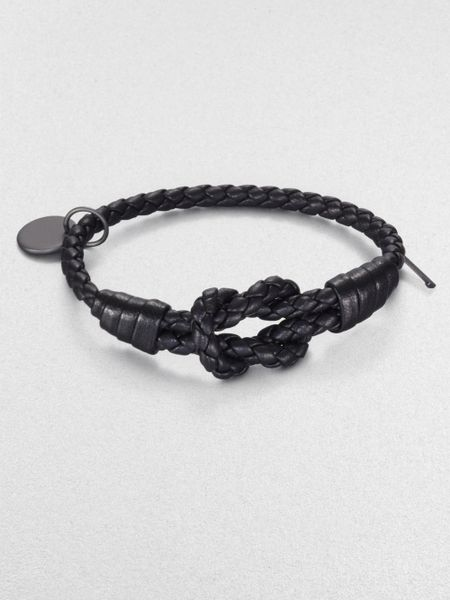 Bottega Veneta Intrecciato Leather Knot Bracelet in Black - Lyst