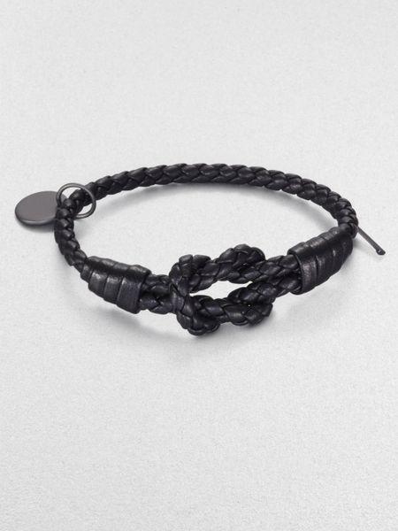 Bottega Veneta | Black Intrecciato Knotted Leather Bracelet | Lyst