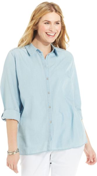 Jessica Simpson Plus Size Nomad Chambray Shirt In Blue
