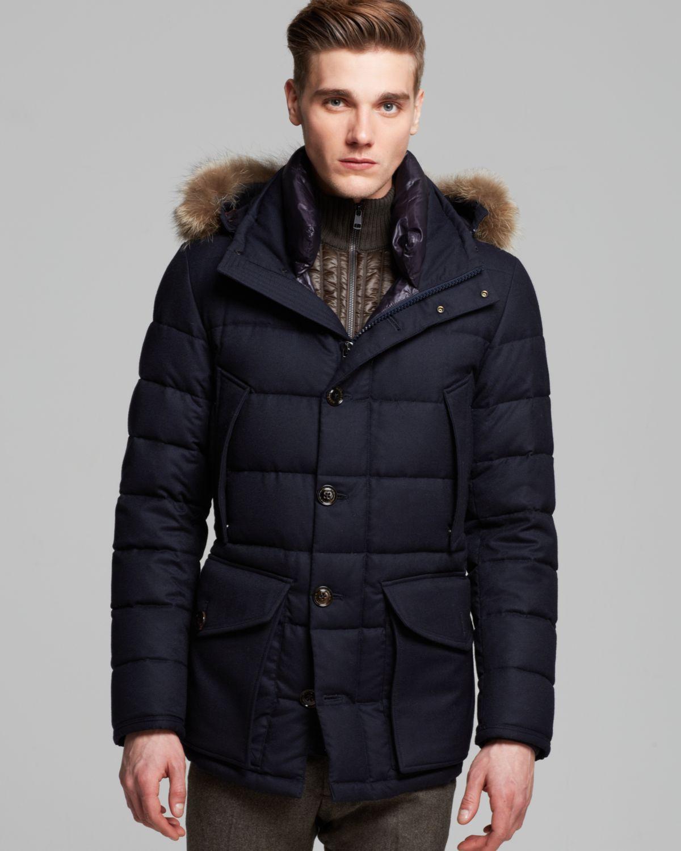 moncler rethel down jacket with fur hood in blue for men lyst. Black Bedroom Furniture Sets. Home Design Ideas