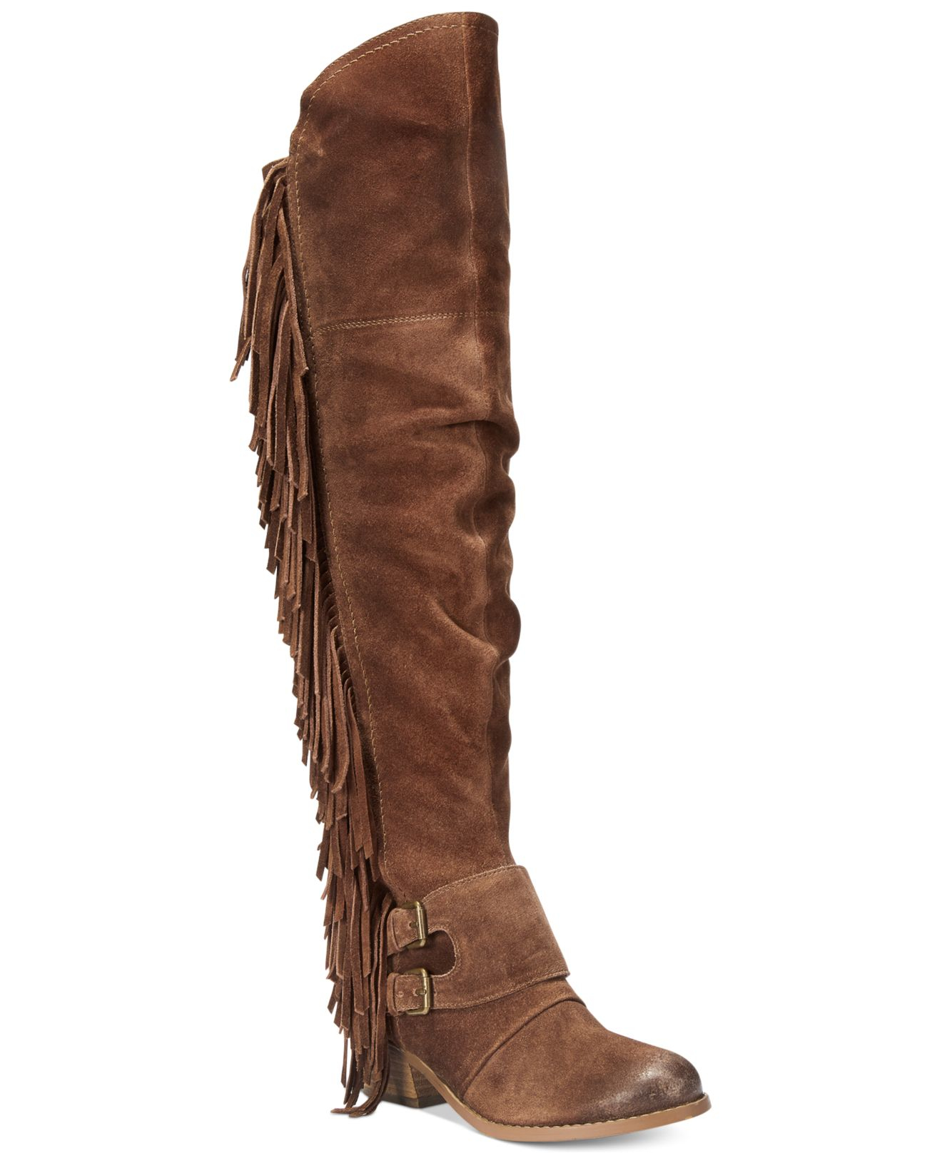 Naughty monkey Frilly Fanta Over-the-knee Fringe Boots in Brown | Lyst
