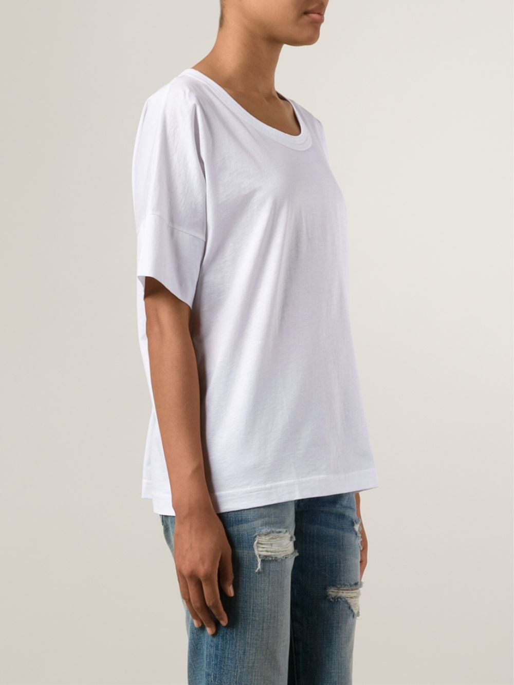 Lemaire Scoop Neck Cotton T Shirt In White Lyst
