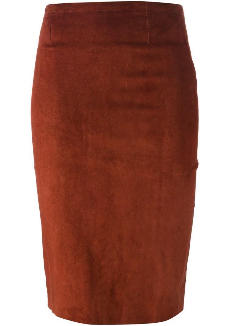 Stouls Midi Pencil Skirt In Brown Lyst