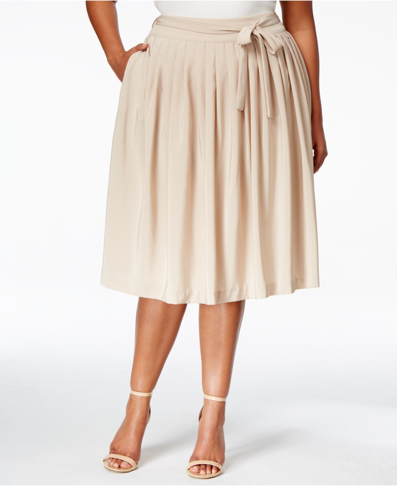calvin klein plus size a line gathered skirt in lyst